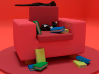 Low poly Diorama - Comfortable cats