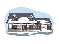 Indiana Home in Winter digital painting flat custom drawing contour drawing digital illustration procreate illustration