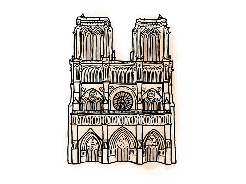 Cathédrale Notre-Dame notredame procreateapp procreate flat vector illustration