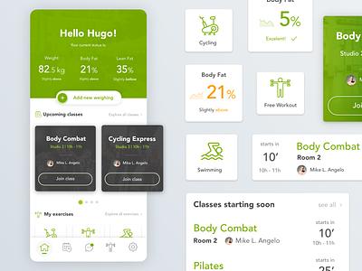 Gym Mobile App preview ux app web fat class exercise menu design app design tracker gymnasium gym green uiux ui mobile ui mobile app mobile