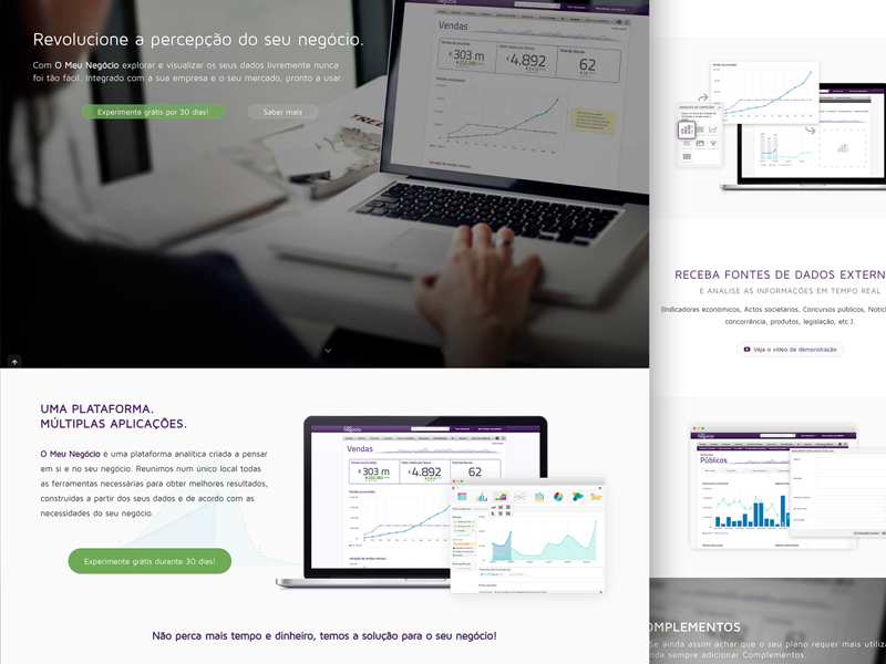 "Business Intelligence website - ""O meu negócio"" picture big 360 green design app mobile analytics business"