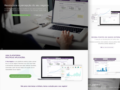 """Business Intelligence website - """"O meu negócio"""" picture big 360 green design app mobile analytics business"""