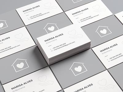 Business Card heart grey gray white black nursing nurse card business