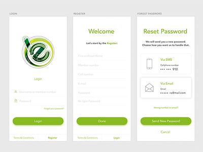 Initial screens iphone link button green app gym password reset register login