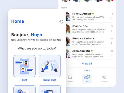 Translation app concept network social translate chatting chat app chat ui design web mobile blue app
