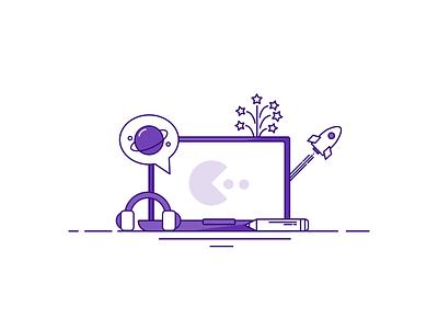 Office laptops monochromatic adobe illustrator work office workspace laptop vector icons icon illustration