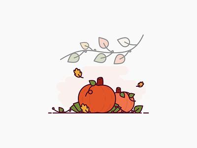 Pumpkin icon autumn leaves pumpkin autumn vector icon illustration