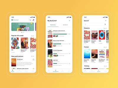 Bookshelf - Reading App ui design books reading books app reader reading app uidesign uiux ui