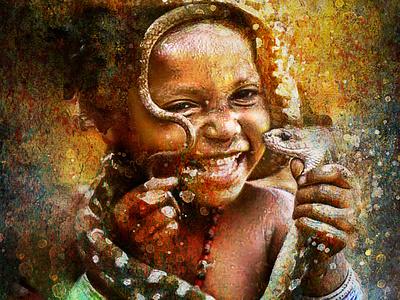 Enfant et serpent