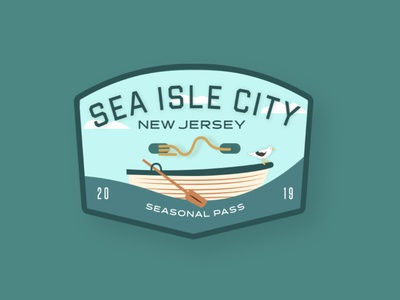 Cape May Beach Tag mockup oars bird sea gull boat sea isle city typography branding beach adobe illustrator new jersey jersey shore jersey cape illustration beach tag badge design