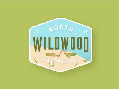 Wildwood Crest Beach Tag tag tan blue green crest wildwood sky doons sand typography branding beach adobe illustrator new jersey jersey shore jersey cape illustration beach tag badge design