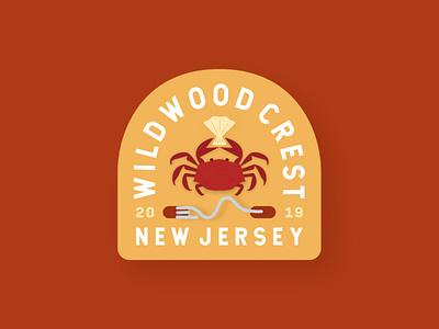 Wildwood Beach Tag yellow orange red shell crab mockup typography branding beach adobe illustrator new jersey jersey shore jersey cape illustration beach tag badge design