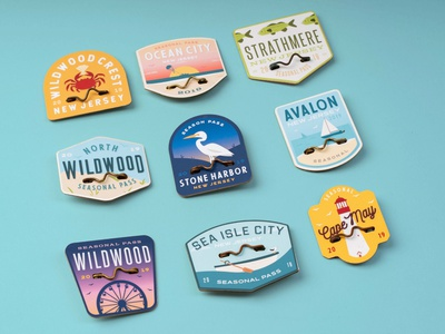 The 'Jersey Cape' Beach Tag Collection lazer laser cut pins physical product blue tags photography fabrication mockup lasercut typography branding beach adobe illustrator new jersey jersey shore jersey cape illustration beach tag badge design