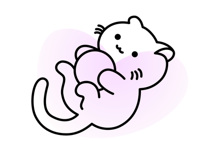 Playful cute illustration vector neko cat animal