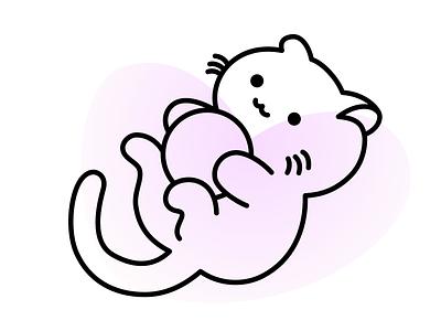 Playful cute illustration vector neko cat animal