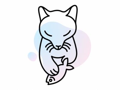 Fox & Fish graphic illustration cute fox animal