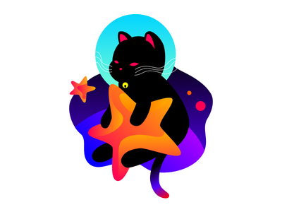 Astro Cat astronaut star space vector cat animal cute illustration