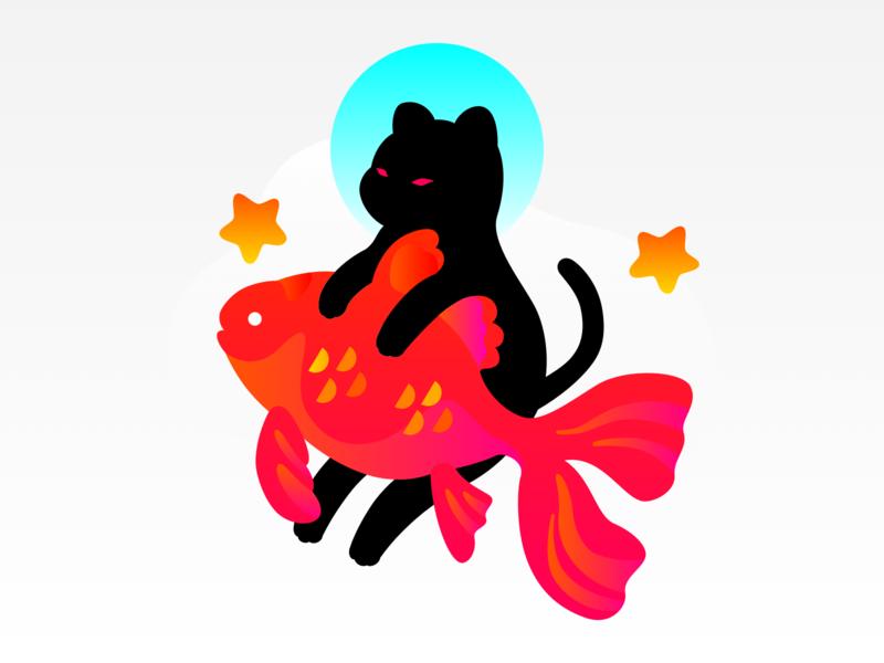 Cat & Fish goldfish fish star cat cute animal vector graphic illustration