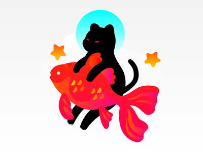 Cat & Fish goldfish fish star cat cute animal vector graphic illustration