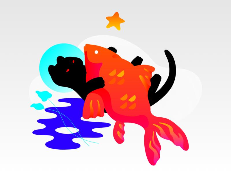 Cat & Fish catfish fish star cat cute animal vector graphic illustration