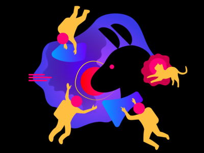Creative Space abstract dog imagination astronaut cat animal vector illustration