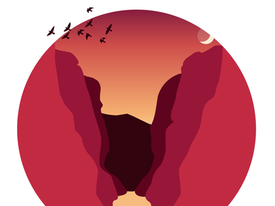 canyon - red. illustration for use on a personal website