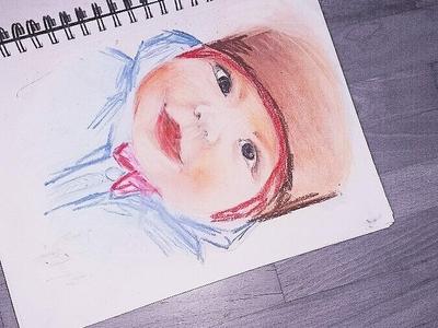 Watercolor pencils portrait