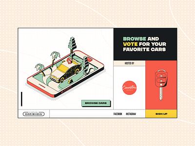2020 Virtual Car Show grid interaction userinterface ui design website landingpage lander boxy box cartoon 80s 70s 60s 50s retro vintage car show cars car