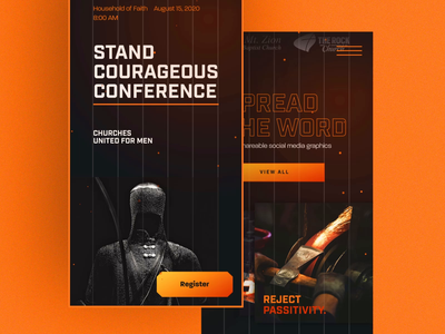 Churches United For Men Mobile Lander website design logo gradient interactive modern conference church branding animation lander website ui interaction userinterface webflow masculine fight battle men orange