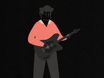 sad rock songs guitar music emo sad rock boy vector illustration