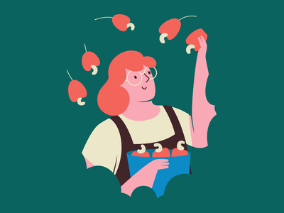 cashew picking editorial flat illustration brasil fruit tree green vector girl brazil gardener picking garden nut cashew