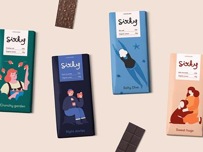 sixty, chocolate brand brazil brasil product dark milk sea salt cashew packaging food branding brand editorial vector illustration package chocolate