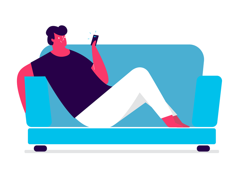 phone & chill vector illustration app happy boy relax couch phone chilling