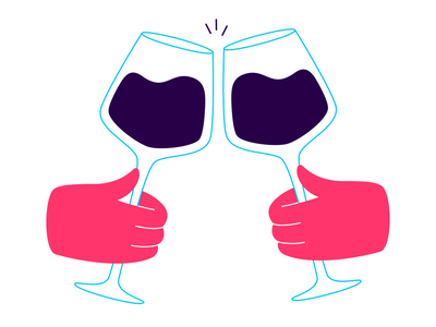 cheers! celebration vector illustration clink toast glass cheers wine