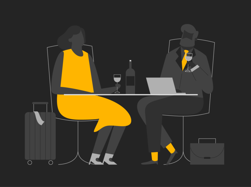 airport wait finance app product mobile vector illustration wine business travel trip lounge waiting area