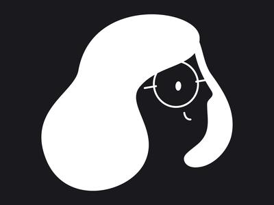 hello there! gestalt black glasses flat design girl vector illustration