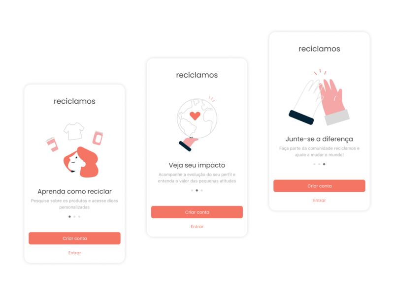 reciclamos, recycling app figma vector ux design product together high five world recycle login carrousel illustration mobile app