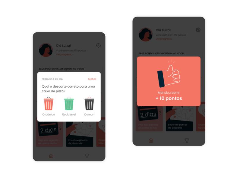 scoring points figma design illustration app product daily question quiz trash can good job ux ui score