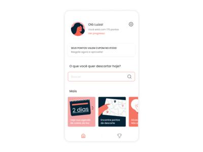 reciclamos, home home question lamp calendar map score mobile ux illustration vector app product ui