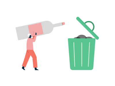 disposable mobile design app ui product illustration can trash bottle recycling recycle