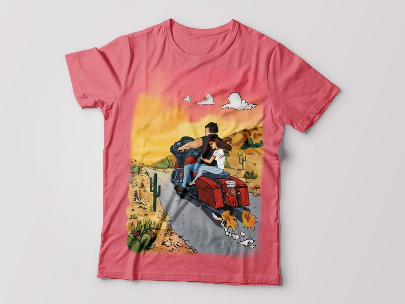 t-shirt design digital graphic design summer shirtdesign painting sunset cartoon digital painting digital 2d t-shirt design t-shirt