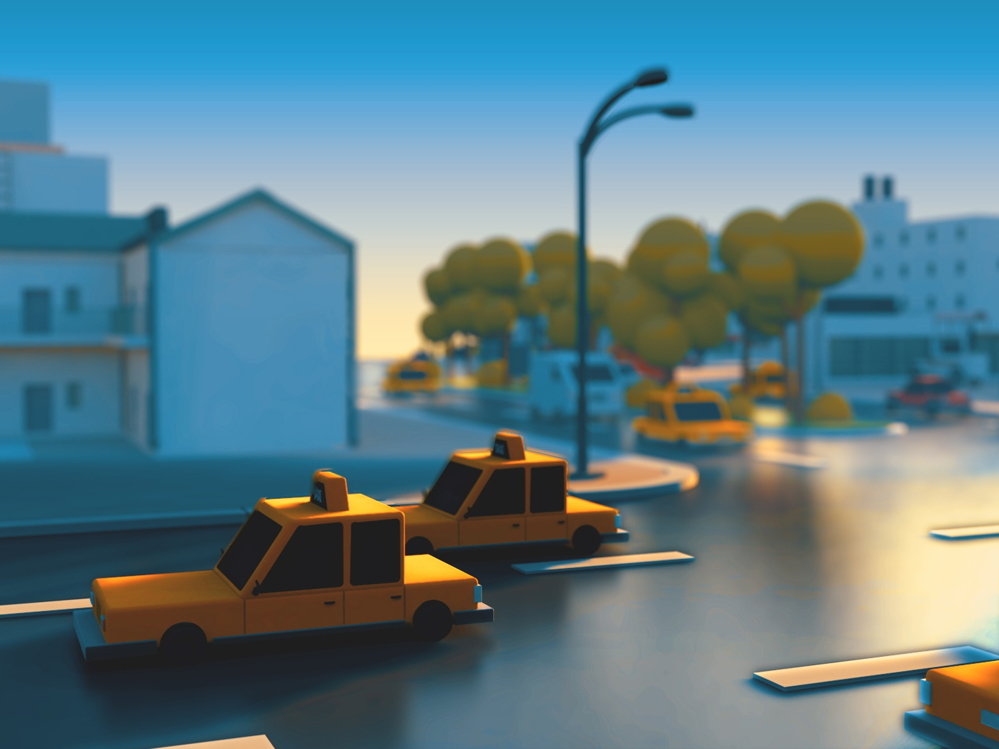 isometric town urban modeling model practice lowpoly taxi city town illustration isometric c4d cinema 4d 3d