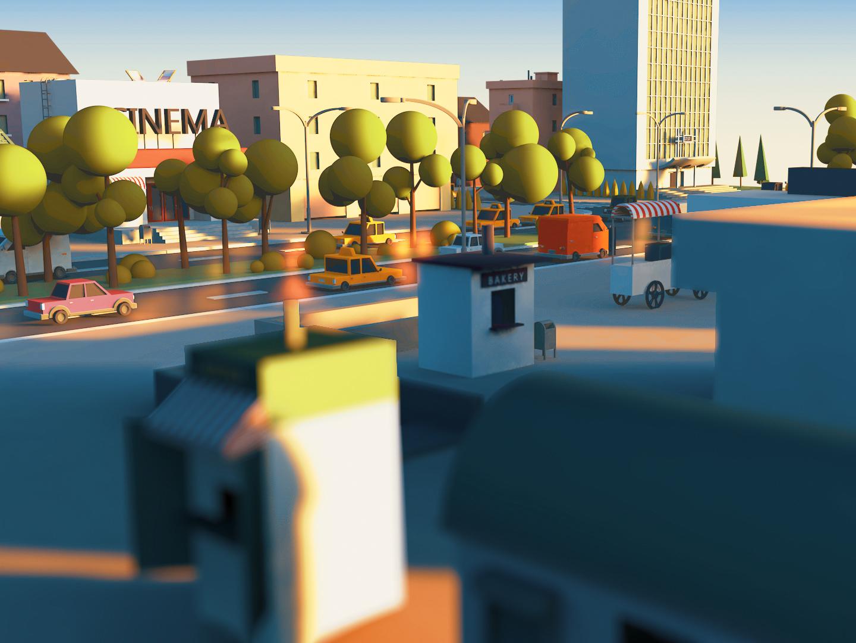 sunrise in town cars isometria practise sun 3d artist modeling sunrise city town isometrictown cinema 4d c4d 3d