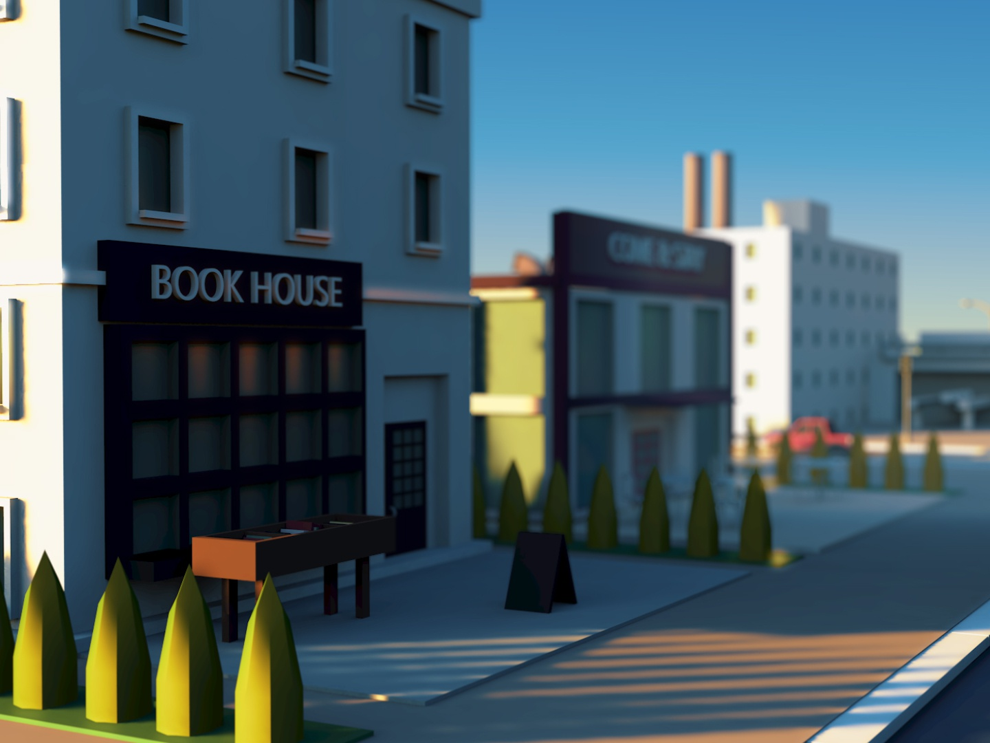 Book House sun render isometrictown design town city isometric cinema4d illustration c4d 3d