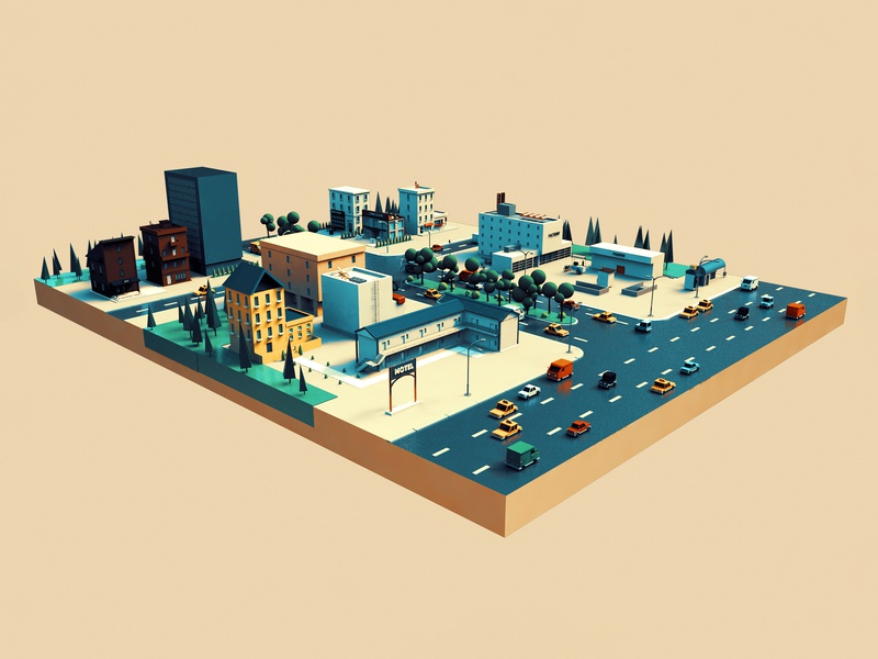 town sun design town isometrictown 3d graphic design city cinema4d c4d illustration