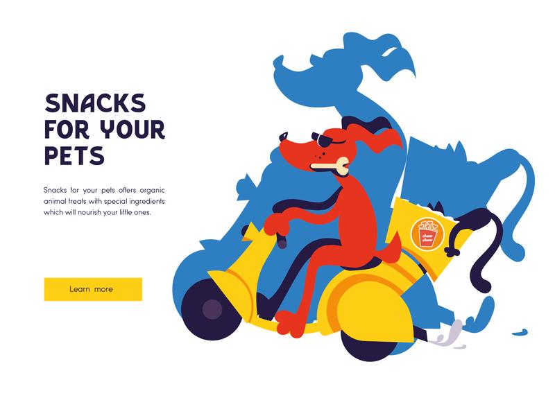 Snacks for your pets ui website illustrator illustrations cat dog doggy pets graphic design illustration