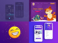My #Top4Shots from 2018 top4shots emoji dribbble converter 2018 purple app illustration web-design fun web design ecommerce mobile design ux ui