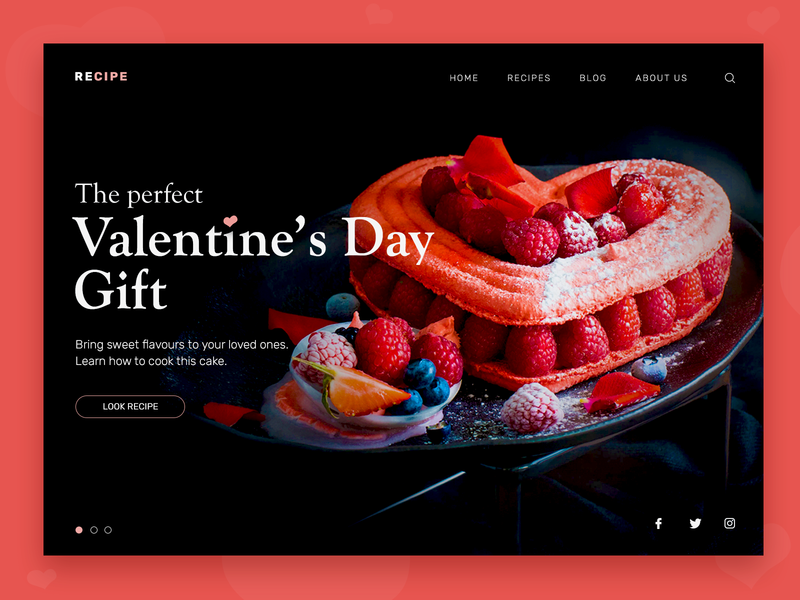 Happy Valentine's Day landing homepage ux design cake recipe valentine day ux heart valentine web design web-design ui
