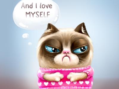 Grumpy cat on Valentine`s day