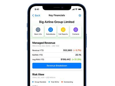 Client View data visualization iphone app fintech bank crypto finance revenue data
